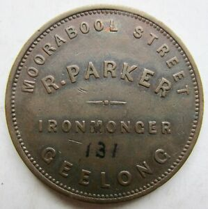 1861 Geelong, Victoria Australia R. PARKER IRONMONGER Penny 1d Merchant token