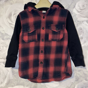 Boys Age 3-4 Years - Hooded Long Sleeved Shirt