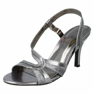 Anne Michelle F1R0158 Ladies Pewter Metallic Open Toe Court Shoes UK 5,6 (R30A)