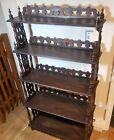 Antique Victorian 5 Tier Walnut Etagere Knick Knack Floor Display Book Shelf