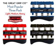 The GREAT GRIP™ THREE PACK Lt-Med-Hvy (3 lb, 5 lb 7lb finger) LIFETIME WARRANTY