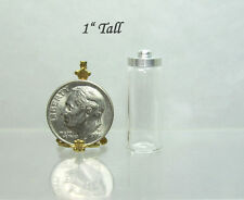 Dollhouse MiniatureTall Glass Candy Jar with Removable Silver Cover