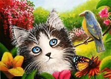 ACEO art print Cat 633 bird butterfly spring from art painting by L.Dumas