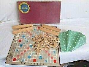 Rare Vintage Red Box Scrabble Game Wooden Tiles & Tile Holders 1954 Complete