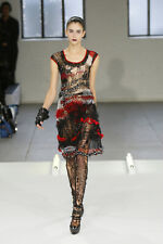 RODARTE Red Black Distressed Irregular Textured Knitted Sweater Dress S US 2 4 6