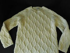 Banana Republic Cream Wool Cable Knit Pull Over Cardigan Ski Sweater Ladies Med