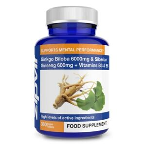 Ginkgo Biloba 6000mg & Siberian Ginseng 600mg Plus Vitamin B3 and Vitamin B5 ...