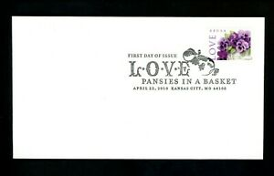 US FDC #4450 None 2010 Kansas City MO Love Pansies Flowers in a Basket