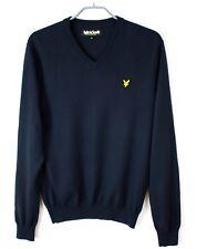 LYLE & SCOTT Men Pullover V Neck Jumper Merino Wool Size M EZ390