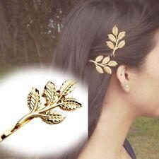 Sunshine Nice Leaves Golden Lovely Metal Punk Gift 2 Pcs Fashion Clip Hair