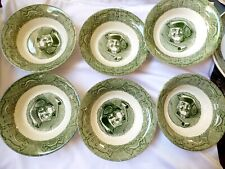 """VTG Royal China The Old Curiosity Shop Lot of 6 Berry Cereal Bowls 5 7/8"""" Green"""