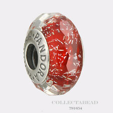 Authentic Pandora Sterling Silver Red Shimmer Murano Glass Bead 791654