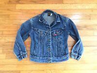 Vintage 80's LEE Riders Classic Women's XS Crop Blue Jean Denim Trucker Jacket