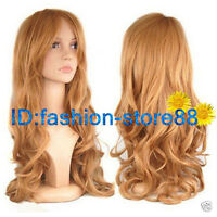 Ladies Long Blonde Wavy Curly Fancy Dress Hair Full Wigs +free wig cap