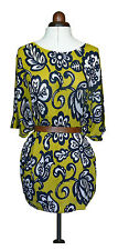 Boden knitted Kaftan Silk/linen mix RRP £89 Yellow/navy print Size Med *REDUCED*