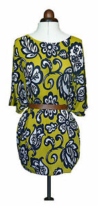 Boden knitted Kaftan Silk/linen mix RRP £89 Yellow/navy print Size Med *REDUCED*