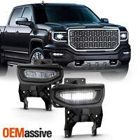 For 2016 2017 2018 GMC Sierra 1500 Full LED Clear Bumper Lamp Fog Light w/Switch