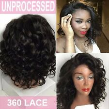 360 Lace Frontal Wig Pre Plucked Glueless Peruvian Virgin Human Hair Long Wavy s