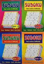 SET of 4 x Sudoku Puzzle games books, 4 LEVELS OF DIFFICULTY, one of the BEST