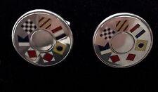Tiffany & Co. Pair of Sterling Silver Cufflinks  Enamel Nautical Flags Retired