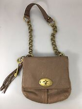 Fossil Taupe Beige Pebbled Leather Shoulder Bag Handbag Purse Brass Key & Strap