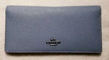 Coach Women's Crossgrain Leather Bifold Wallet in slate/silver - nwt
