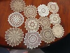 12 pc cotton crochet medallions/ doilies white cream ecru 9-12cm 4 dream catcher