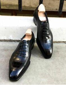 Handmade Men Black Crocodile Embossed Calfskin Leather Black Oxford Dress shoes