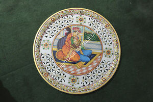 1'x1' Filigree Marble Round Serving Plate Hand Painted Mughal Design Decor H5696