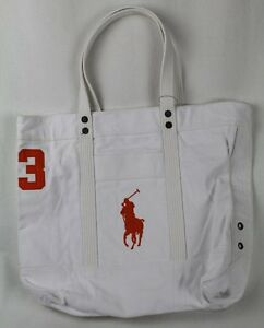 POLO Ralph Lauren White Big Orange Pony Zippered Tote Bag NWT