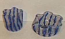 Art Glass Ashtray And Cigarette Holder 2 pc Set Vtg Blue Lattice Gold Hand Blown