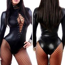 Mini Vestido Lencería Sexy de Mujer Dama Aspecto Mojado PVC Cuero Látex de Bodycon Ropa de club