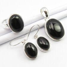Onyx Pendant Earrings Ring 8 Set Free Express Shipping 925 Silver Natural Black