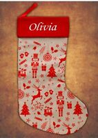 Personalised Deluxe Kids Luxury Embroidered Xmas Stocking Hessian Christmas 2019