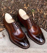 Men's Brown Two Tone Split Toe Leather Shoes Designer handmade shoes