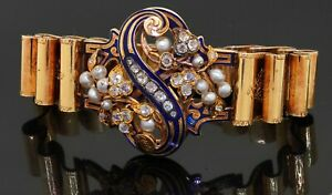 Antique French hallmarked heavy 18K YG 2.50CT diamond pearl enamel bracelet