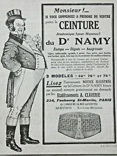 PUBLICITÉ PRESSE 1923 LA CEINTURE ANATOMIQUE POUR HOMME DU Dr NAMY - A.CLAVERIE