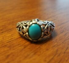 925 Sterling Silver Women's Ring With Oval Turquoise Stone Size 7