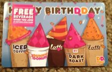 """DUNKIN DONUTS COFFEE GIFT CARD """"HAPPY BIRTHDAY"""" NEW 2014 NO VALUE"""