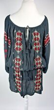 Denim & Supply Ralph Lauren Dress Size M Black Embroidered Hobo Peasant
