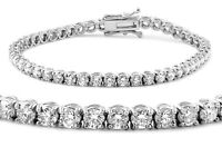 5.50 F VS2 ROUND CUT DIAMOND TENNIS BRACELET 14K WHITE GOLD CERTIFIED