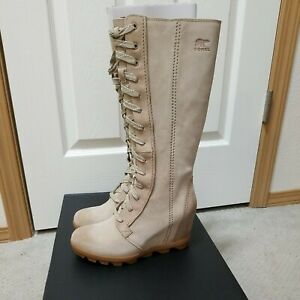 NEW in Box Sorel Joan Of Arctic Wedge II Tall Boots Sandy Tan 8.5