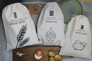 Linen Food Storage Bag Bundle, Onion/Potato/Bread Bag 38*27cm, Eco Product