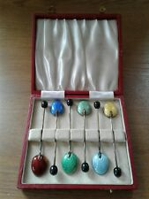 SOLID STERLING SILVER GILT & ENAMEL SET OF 6 BOXED COFFEE SPOONS BIRMINGHAM 1952
