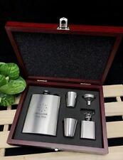 Personalised Engraved Stainless Steel Hip Flask Set in Wooden box-BestMan Design