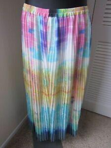Victoria Secret Womens Maxi Skirt Yellow Tie Dye Pleated Side Slit Size 14