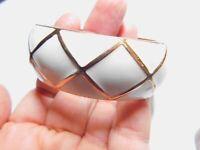 Signed Premier Designs White Enamel Copper Oval Hinged Bangle Bracelet Vintage