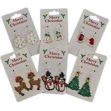 Novelty Christmas Motif Drop Earrings Xmas Santa Snowman Tree Rudolph Snowflake