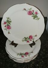 "Vintage Moss Rose Plates LOT of 7, Diameter 9 "" , Gold Rim Made in China"