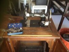 Aust. made Bebarfald sewing machine in fold up timber cabinet circa 1917